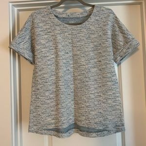 Blue short sleeve shimmery top